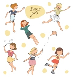 set of cute young girls vector image