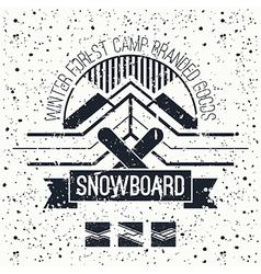 Snowboard retro emblem vector