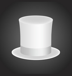White gentleman hat cylinder with silk ribbon vector