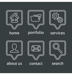 White website menu icons vector image
