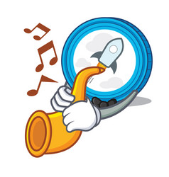 With trumpet stellar coin character cartoon vector
