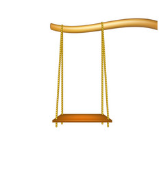 Wooden swing hanging from the bough of a tree vector
