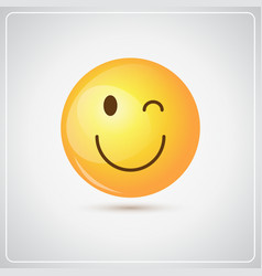 Yellow smiling cartoon face winking people emotion vector