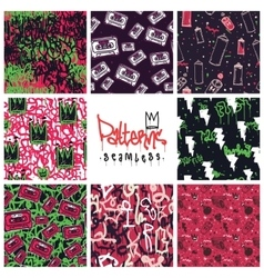 Graffiti seamless patterns set vector