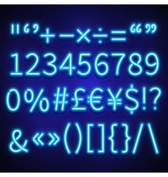 Glowing neon numbers text symbols and currency vector