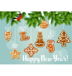 Pine tree with gingerbread cookies vector