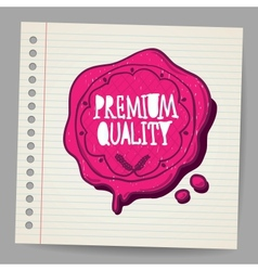 Doodle wax seal with premium quality sign vector