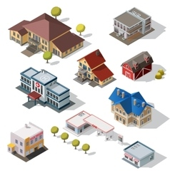 Isometric high quality city street urban buildings vector