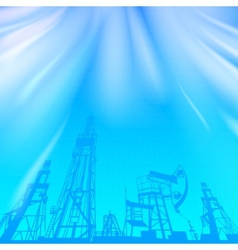 Oil rig and pump over blue luminous ray vector