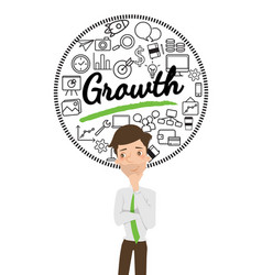 Businessman thinking about business growth vector