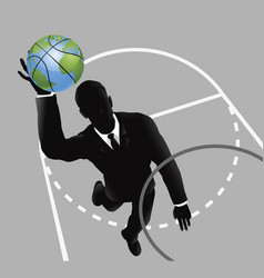 Business man slam dunking basketball vector