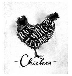 Chicken cutting scheme vector