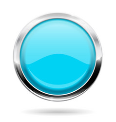 Blue round button with chrome frame vector
