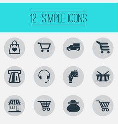 Set of simple purchase icons elements grocery shop vector