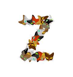 Letter z cat font pet alphabet symbol home animal vector