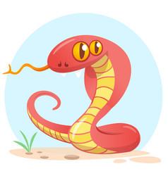 cartoon red snake vector image