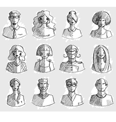 Characters design Hand drawn icons Faces sketch vector image