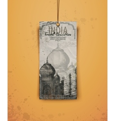 Taj mahal india vintage hand drawn vector