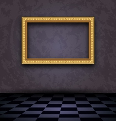 Picture frame in dark empty interior - vector