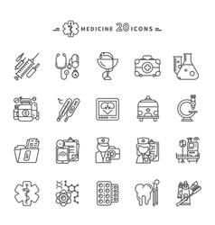 Set of outline medicine icons on white background vector