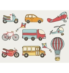 Hand-drawn transportation icon set vector