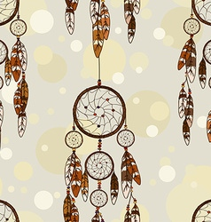 Seamless pattern of american indians dreamcatcher vector