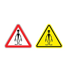 Warning sign of attention aliens hazard yellow vector