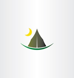 Camping tent and moon icon vector