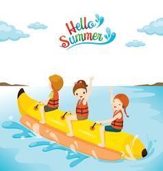 Children having fun on banana boat vector