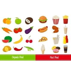 Organic food and fast food icons vector