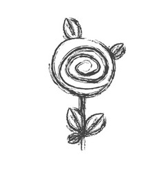 Blurred silhouette sketch rose with leaves and vector