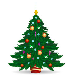 Christmas tree with bright lights vector