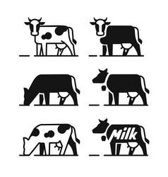 dairy cow symbols vector image vector image
