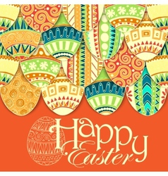 Easter background with colorful doodle eggs vector image