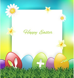 Easter greeting card with colorful eggs on grass vector