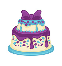 Festive two-tier cake with beautiful purple bow on vector