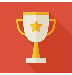Flat award gold trophy cup with long shadow vector
