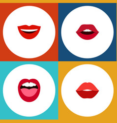Flat icon lips set of mouth tongue teeth and vector