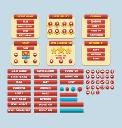 game simple flat gui pack vector image vector image