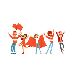 Group of sport fans in red outfit with flags vector