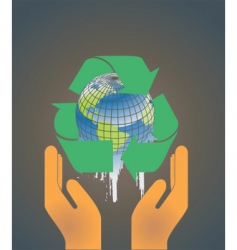 hand holding earth globe 2 vector image vector image