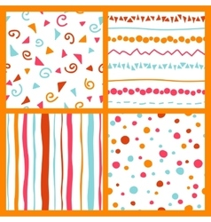 Hand seamless patterns bright collection vector