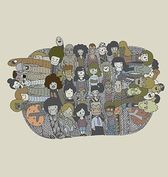 Hipster doodle people collage background vector