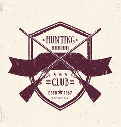 Hunting club vintage logo with crossed old rifles vector