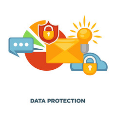Internet security and data protection flat vector