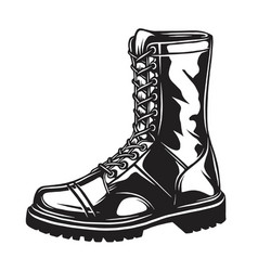Monochrome of military boot vector