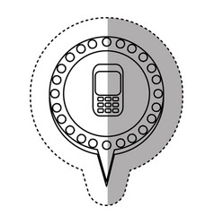 monochrome sticker with cell phone in circular vector image vector image