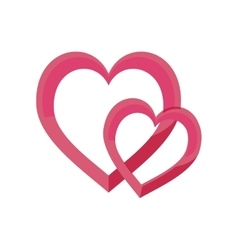 pair hearts love valentine design vector image