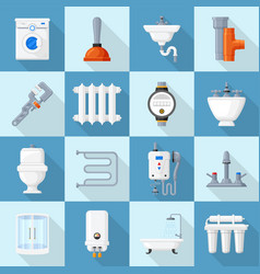 plumbing cartoon set vector image vector image