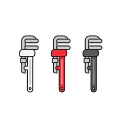 Plumbing Wrench flat Icon with Different Colors vector image